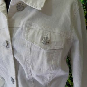 Nine West Jackets & Coats - 9 West American Vintage White Denim Jean Jacket